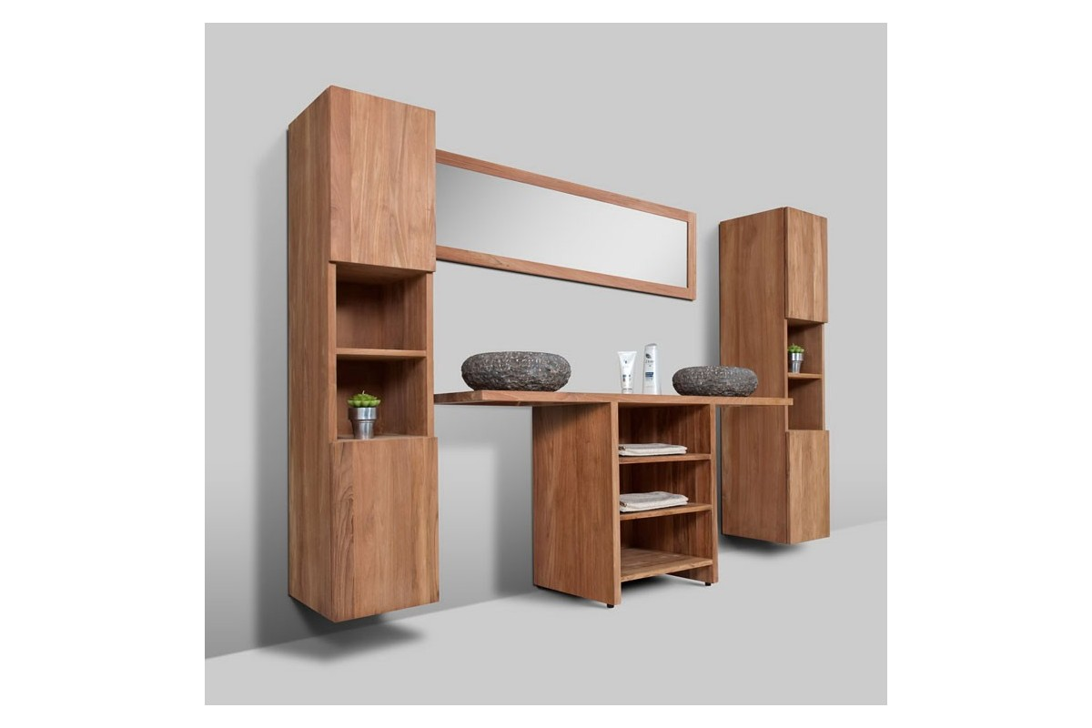 meuble de salle de bain teck massif recycl loungea la. Black Bedroom Furniture Sets. Home Design Ideas