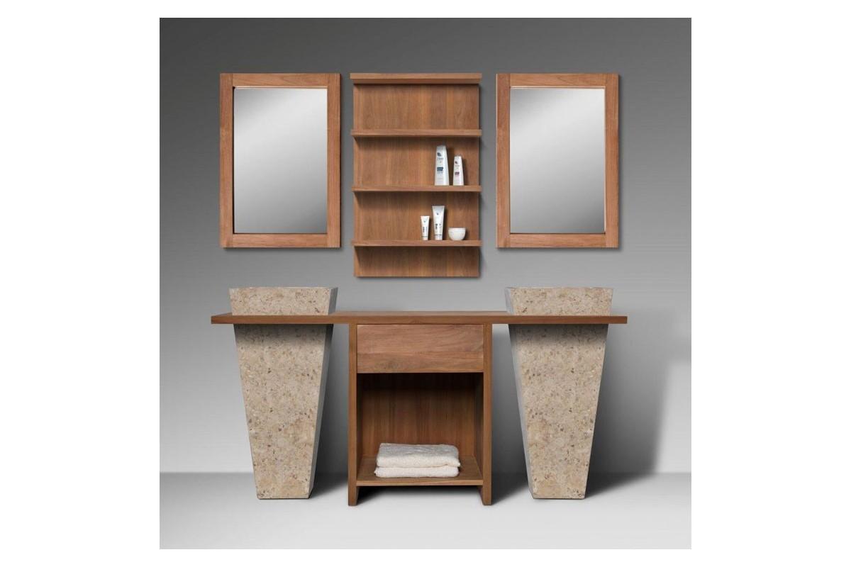 Meuble de salle de bain teck massif recycl 1 tiroir avec for Meubles salle de bain en teck massif