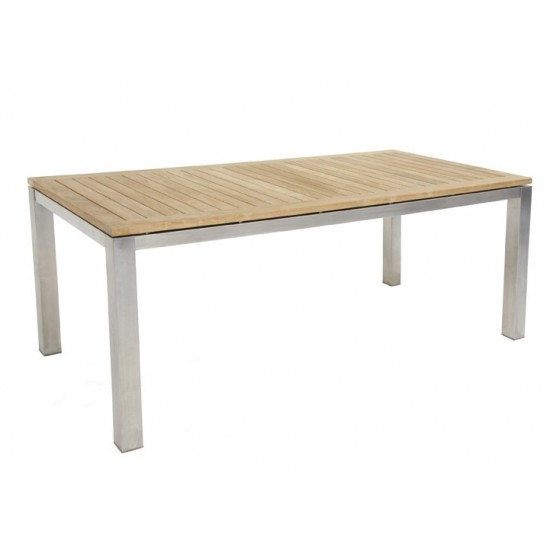 Table rectangulaire empiètement inox, plateau teck massif, modèle Houston