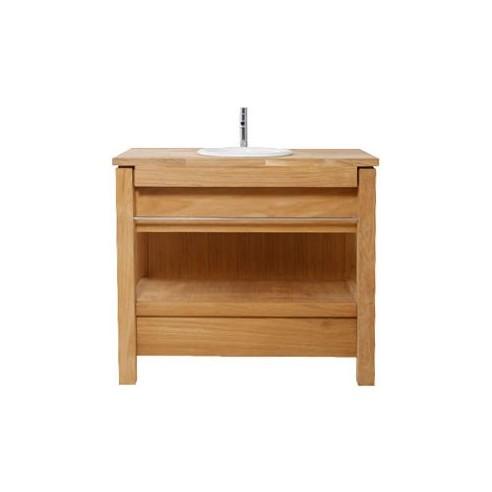 Meuble 1 vasque en teck massif 101 cm for Meuble de salle de bain avec tiroir