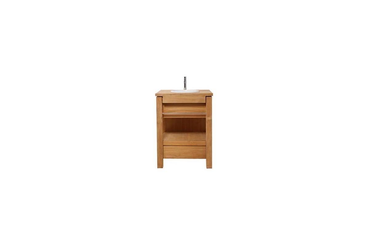 Meuble vasque en teck massif avec un tiroir et une barre for Meuble une vasque