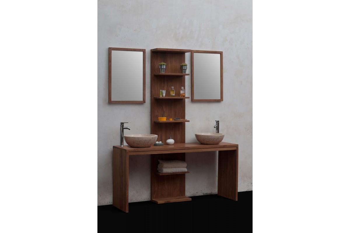 Meuble de salle de bains en teck massif recycl loungea for Meubles en teck recycle