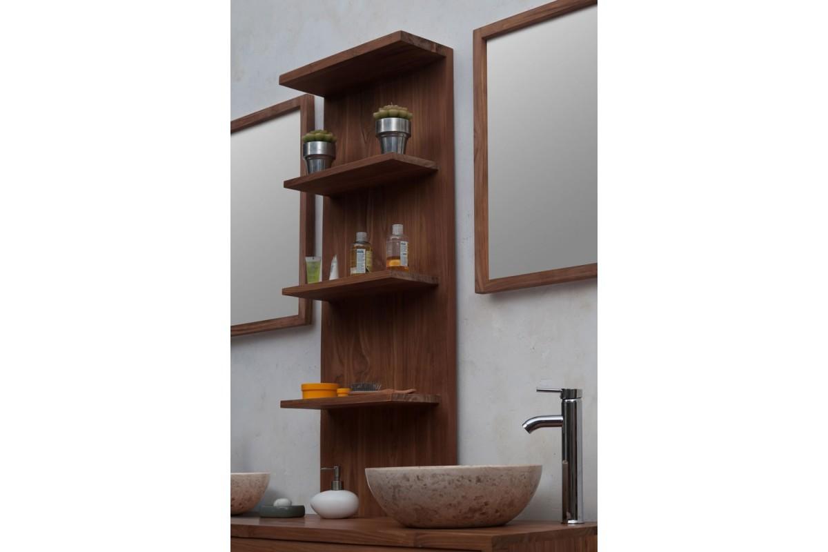 Meuble de salle de bains en teck massif recycl loungea la galerie du teck - Etagere miroir salle de bain ...