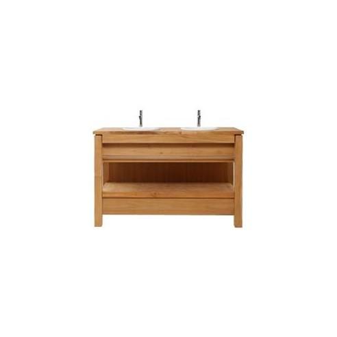 meuble en teck massif avec 2 tiroirs pour 2 vasques. Black Bedroom Furniture Sets. Home Design Ideas