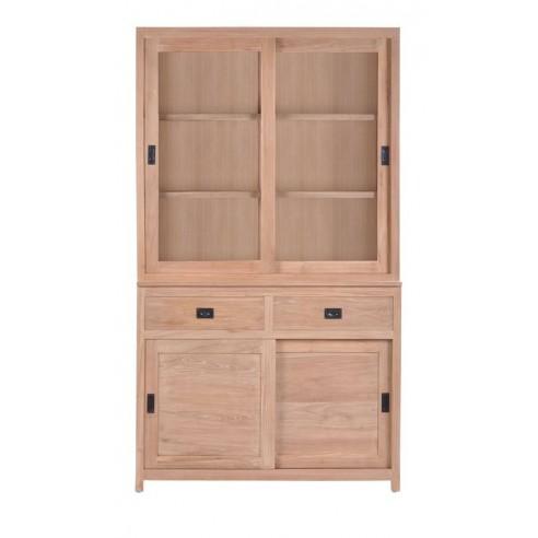 Biblioth que en teck massif 120 cm 4 portes coulissantes 2 tiroirs exquise - Bibliotheque en teck massif ...