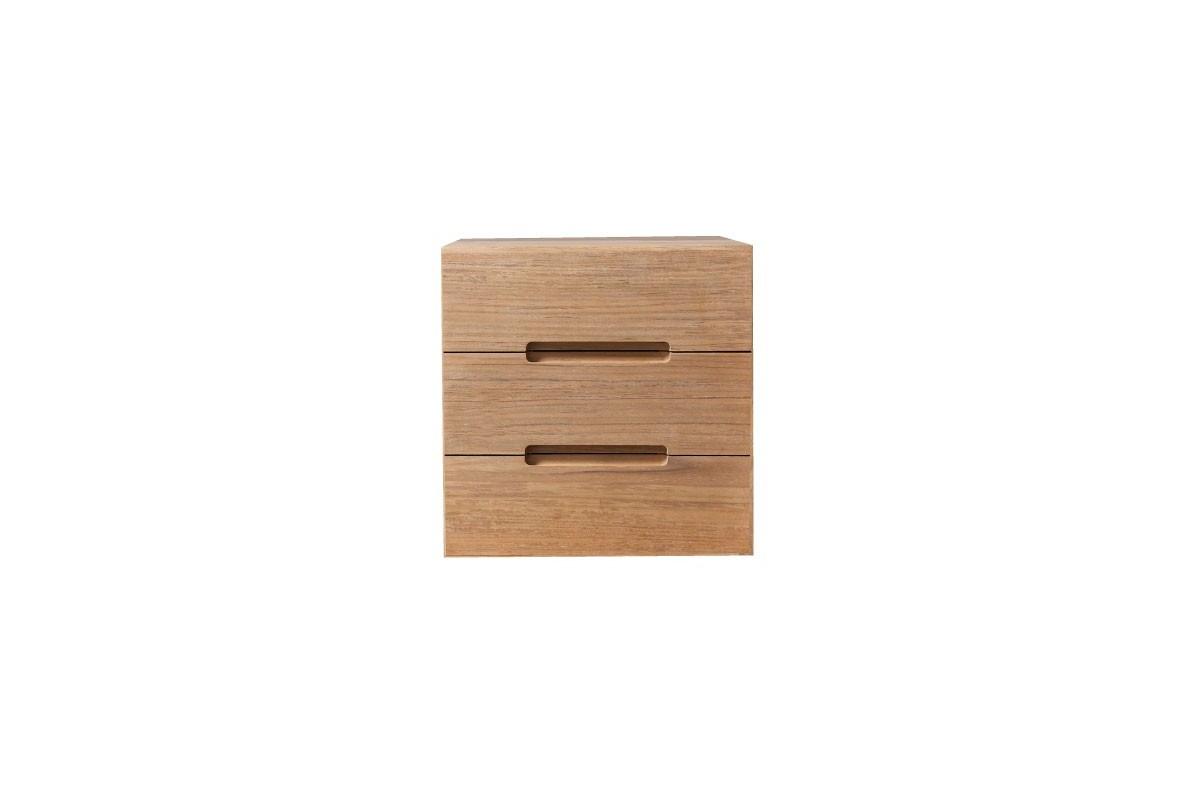 Meuble de rangement sans fond 1 porte en teck massif 30 cm for Cube de rangement salle de bain