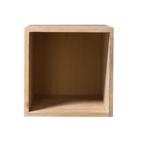 Meuble de salle de bain format cube en teck massif la for Cube de rangement salle de bain