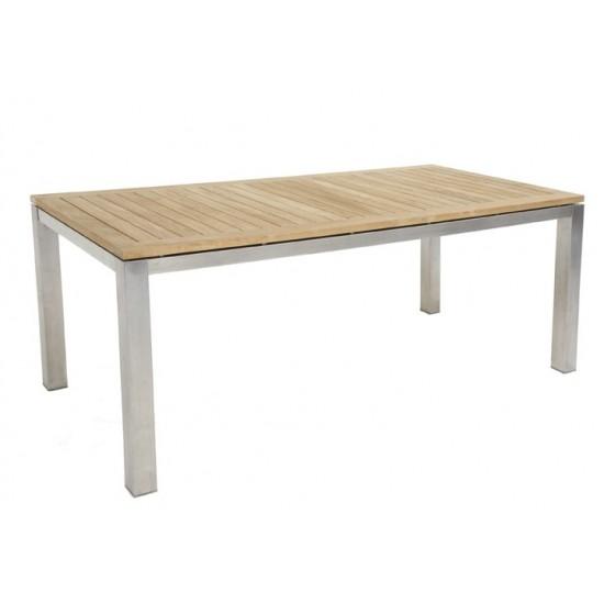 Table carrée avec empiètement inox et plateau en teck massif
