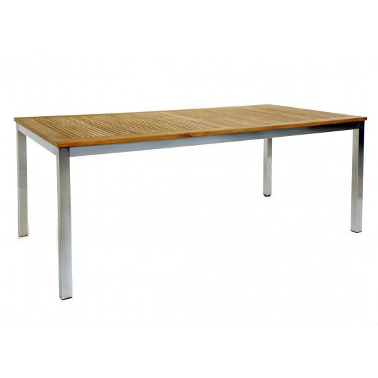 Table rectangulaire en inox avec un plateau en teck, modèle Arizona