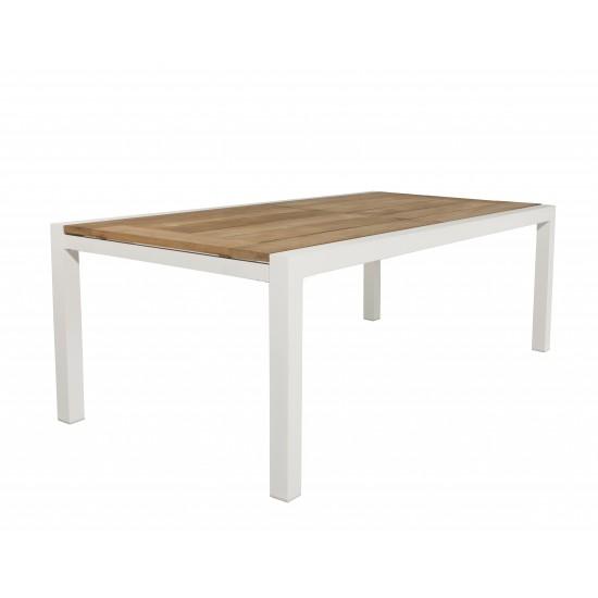 Table en teck à rallonge 220 / 330 cm en teck et aluminium blanc mat, modèle Lugano