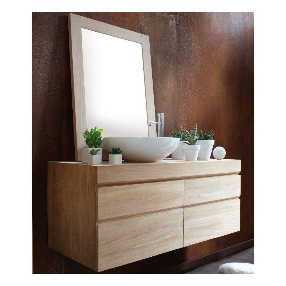 Meuble en teck suspendu pour 1 ou 2 vasques line art la galerie du teck - Meuble de salle de bain suspendu ...