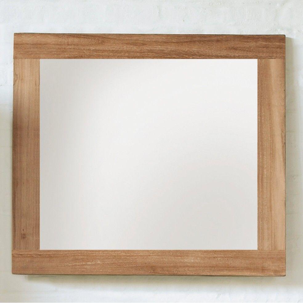 Miroir en teck massif brut by line art la galerie du teck for Miroir large
