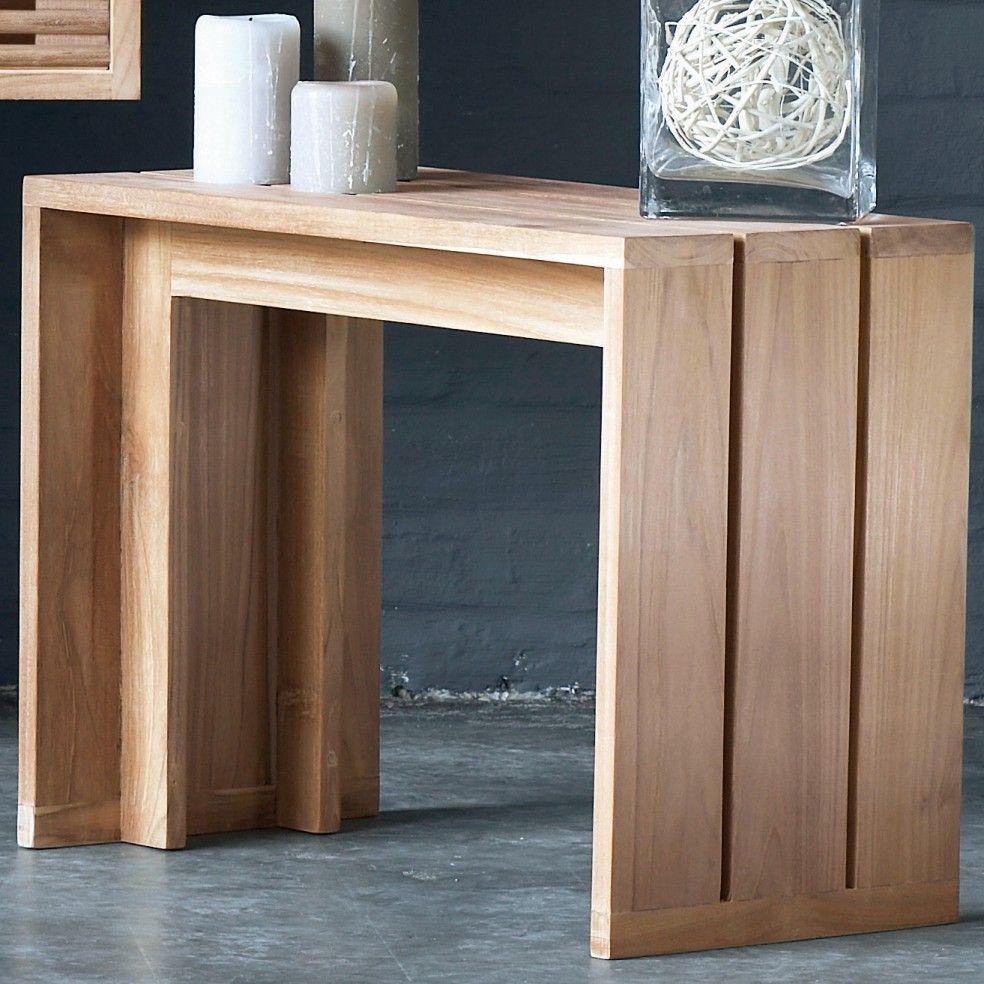 banc teck massif pour salle de bains 60 cm la galerie du teck. Black Bedroom Furniture Sets. Home Design Ideas