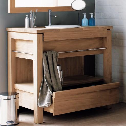 Meuble de salle de bains en teck pour vasque encastrer 1 tiroir la galer - Meuble de salle de bain vasque ...