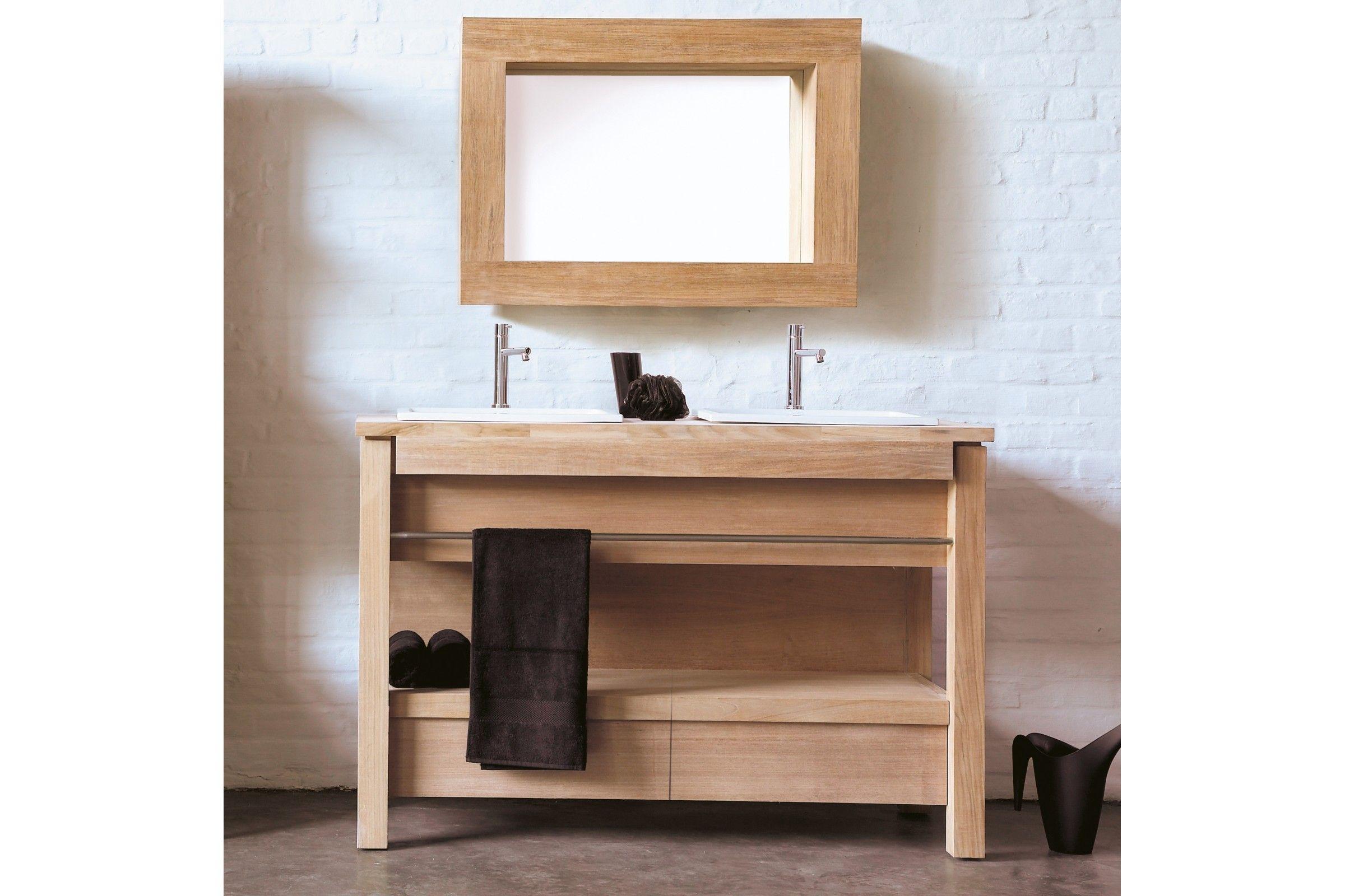 Meuble en teck massif et pierre marbri re pour 2 vasques encastrer la ga - Meuble salle de bain destockage ...