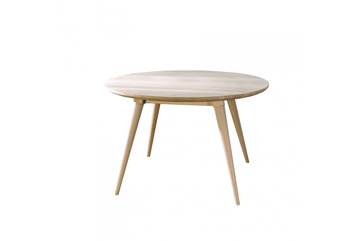 Table ronde en ch ne massif 130 cm la galerie du teck for Table ronde en chene
