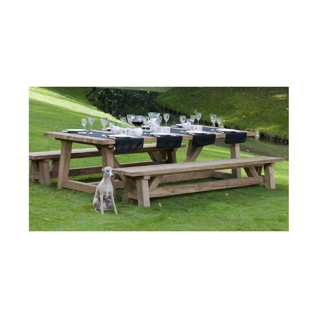 Table rectangulaire vieux teck massif, modèle Cottage