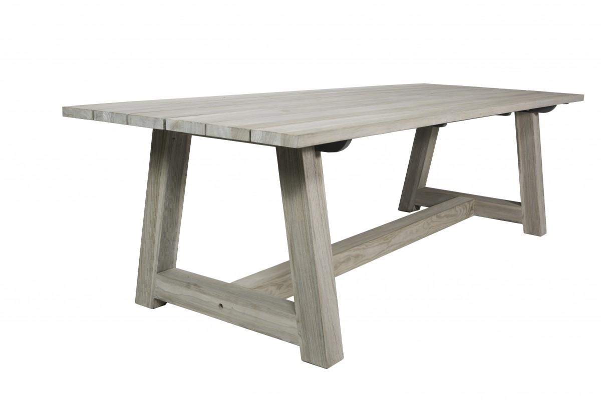 Table En Vieux Teck Massif 220 Cm Gris D Lav Mod Le Campagne La Galerie Du Teck