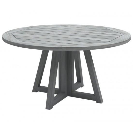 Table ronde en vieux teck massif gris délavé d 150 cm, 8 / 10 couverts, Hamilton