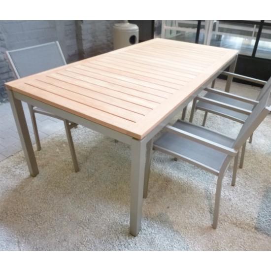 Table de jardin à rallonge 200/260 cm en teck et alu, modèle Granada