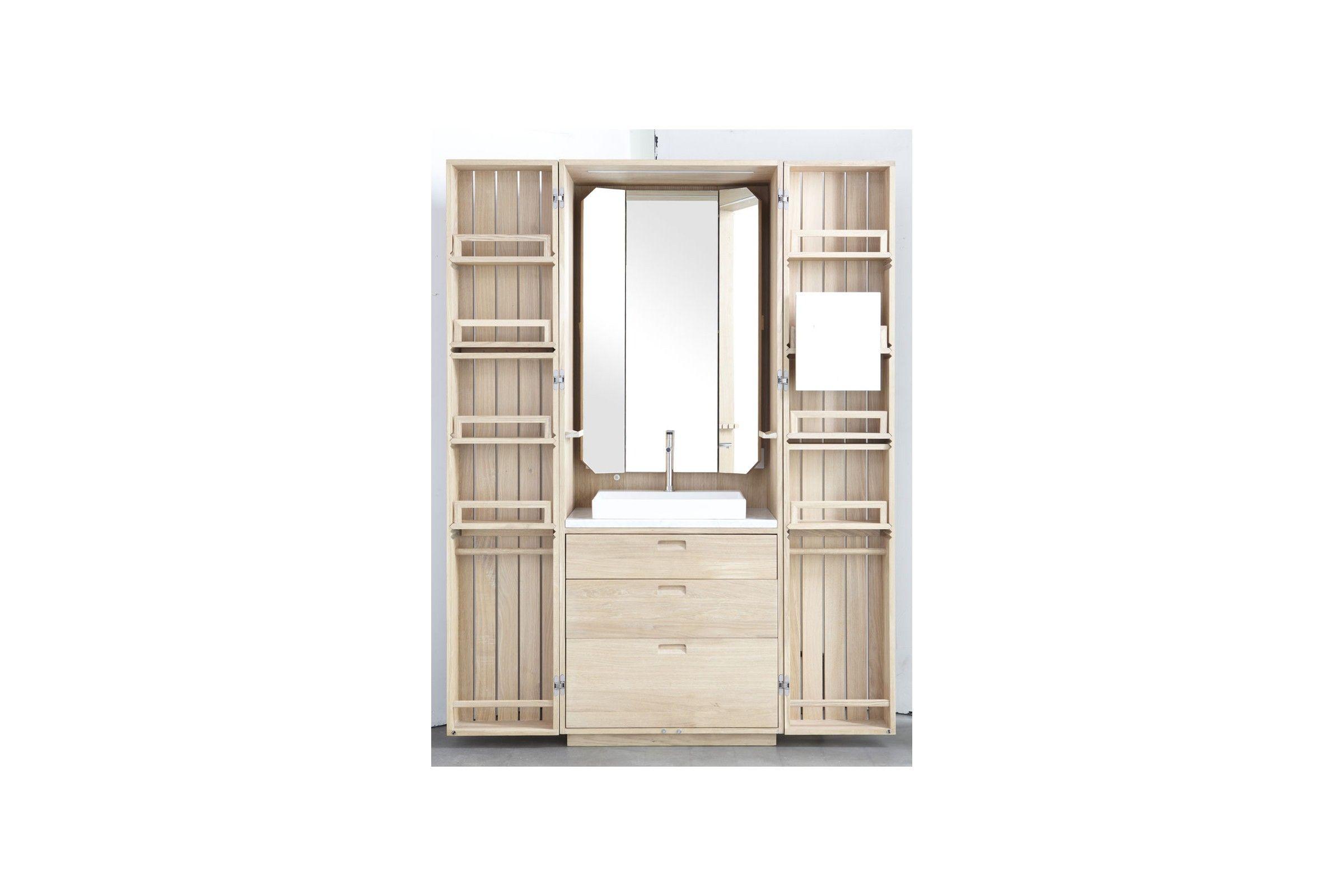 Cabinet de toilette mural en ch ne en lot la galerie du for Meuble mural a composer