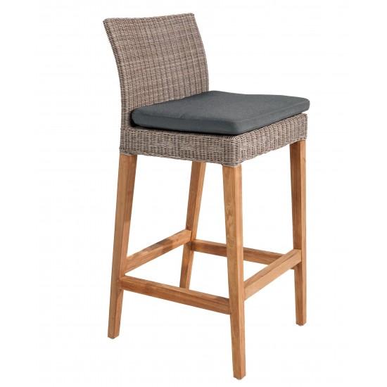 Chaise haute de bar en teck et résine tressée avec coussin