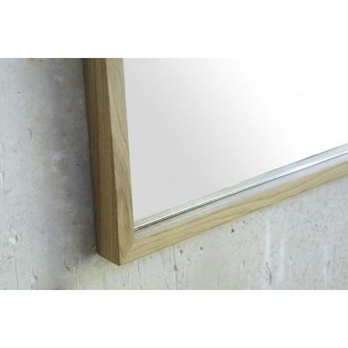 Miroir avec des bords fins en ch ne massif naturel c rus for Miroir 50 cm