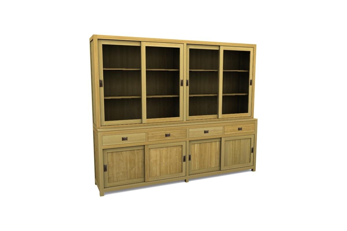 Biblioth que en teck massif 260 cm 4 tiroirs 4 portes for Sideboard 260 cm