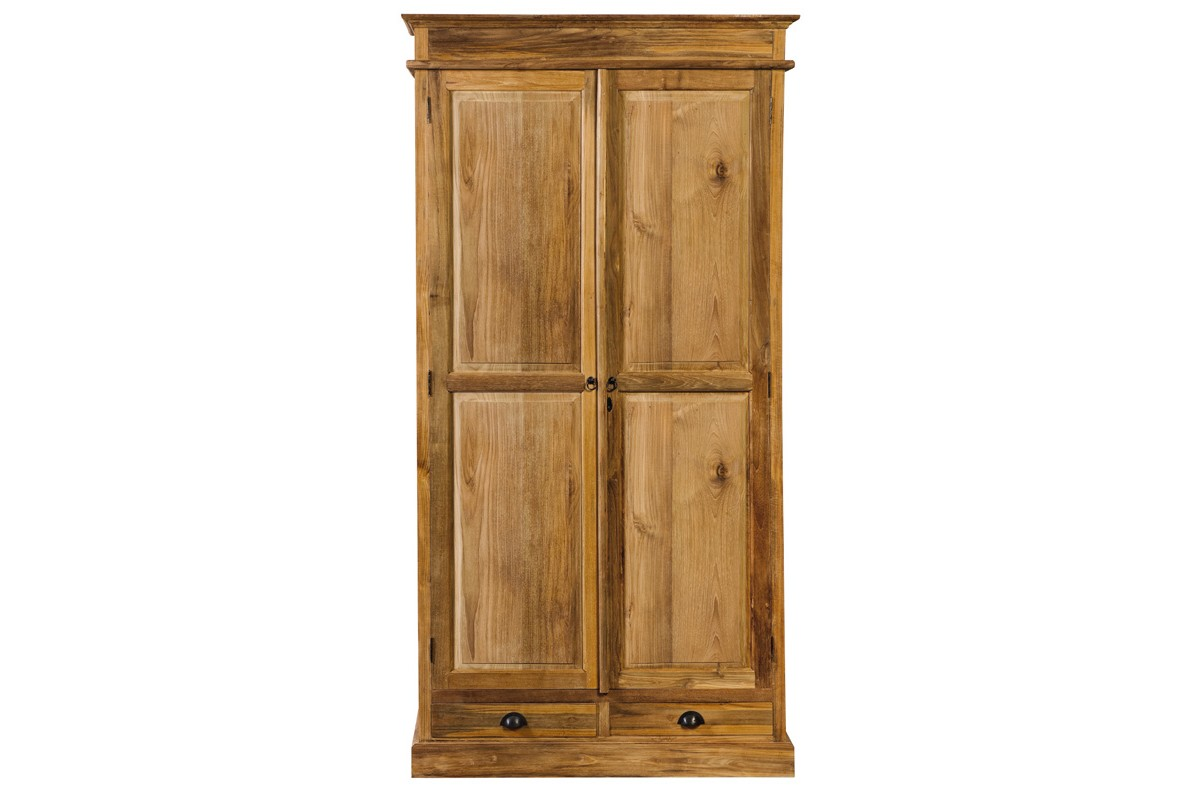 armoire 110 cm en teck massif ancien 2 portes et 2 tiroirs. Black Bedroom Furniture Sets. Home Design Ideas