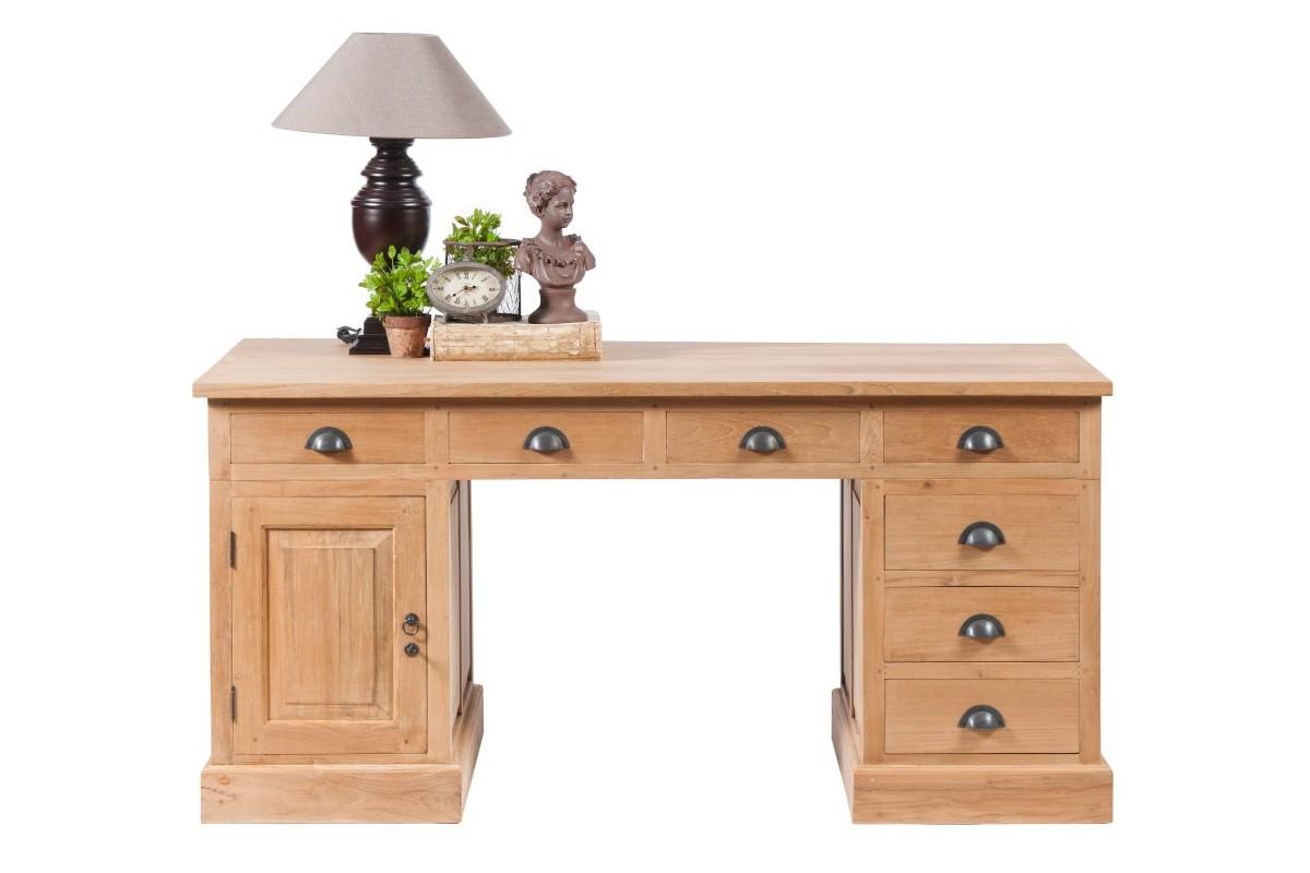 bureau en teck massif ancien 7 tiroirs et une porte hera la galerie du teck. Black Bedroom Furniture Sets. Home Design Ideas