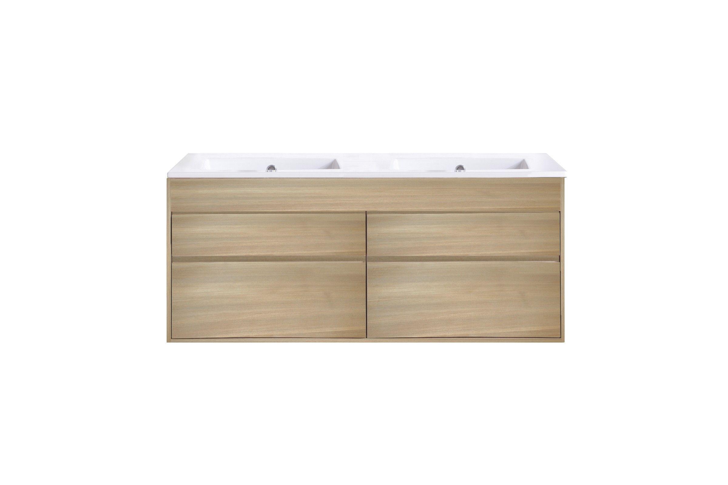 meuble suspendu en teck massif avec une double vasque la galerie du teck. Black Bedroom Furniture Sets. Home Design Ideas
