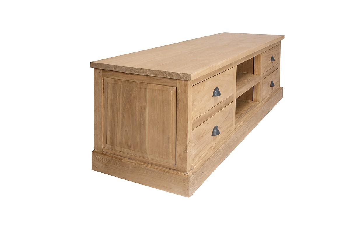 meuble tv 170 cm en teck massif ancien avec 2 niches 4 tiroirs hera la galerie du teck. Black Bedroom Furniture Sets. Home Design Ideas