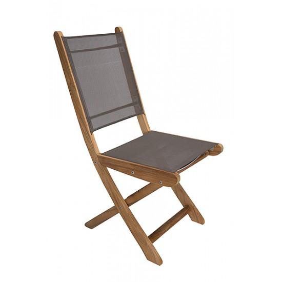 Chaise pliante teck massif, dossier assise batylene, modèle Lyon