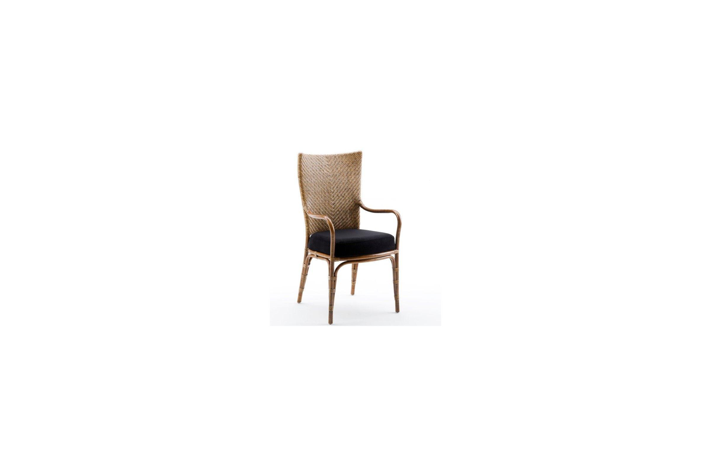 Fauteuil en rotin naturel pour la table de repas avec coussin blanc cr me la galerie du teck - Coussin pour fauteuil en rotin ...