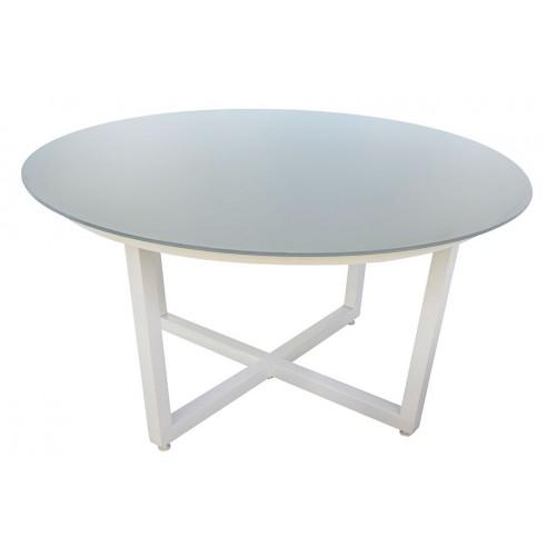 Table Ronde Empi Tement Aluminium Plateau Verre Mod Le Montella