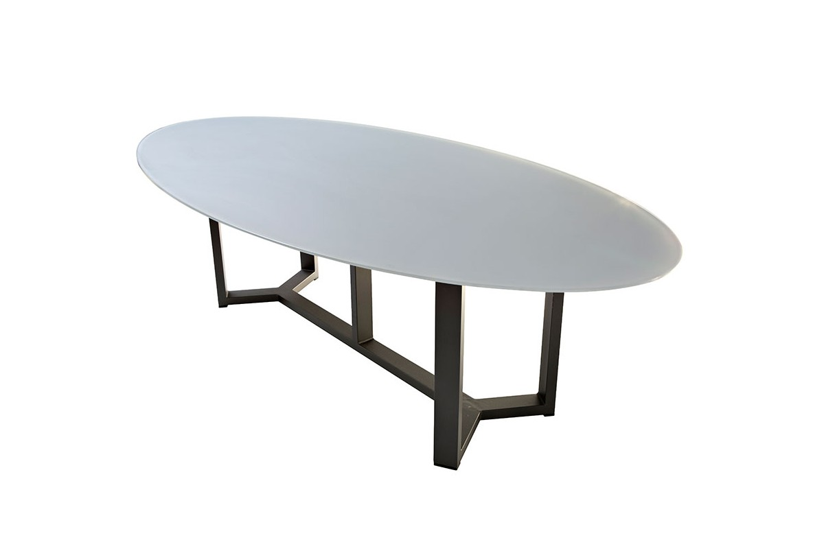 Table en verre ovale maison design - Table de jardin extensible plateau verre ...