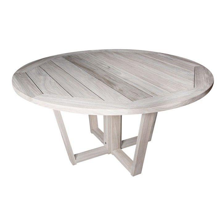 Table ronde en vieux teck massif gris délavé d 150 cm, 8 / 10 couverts