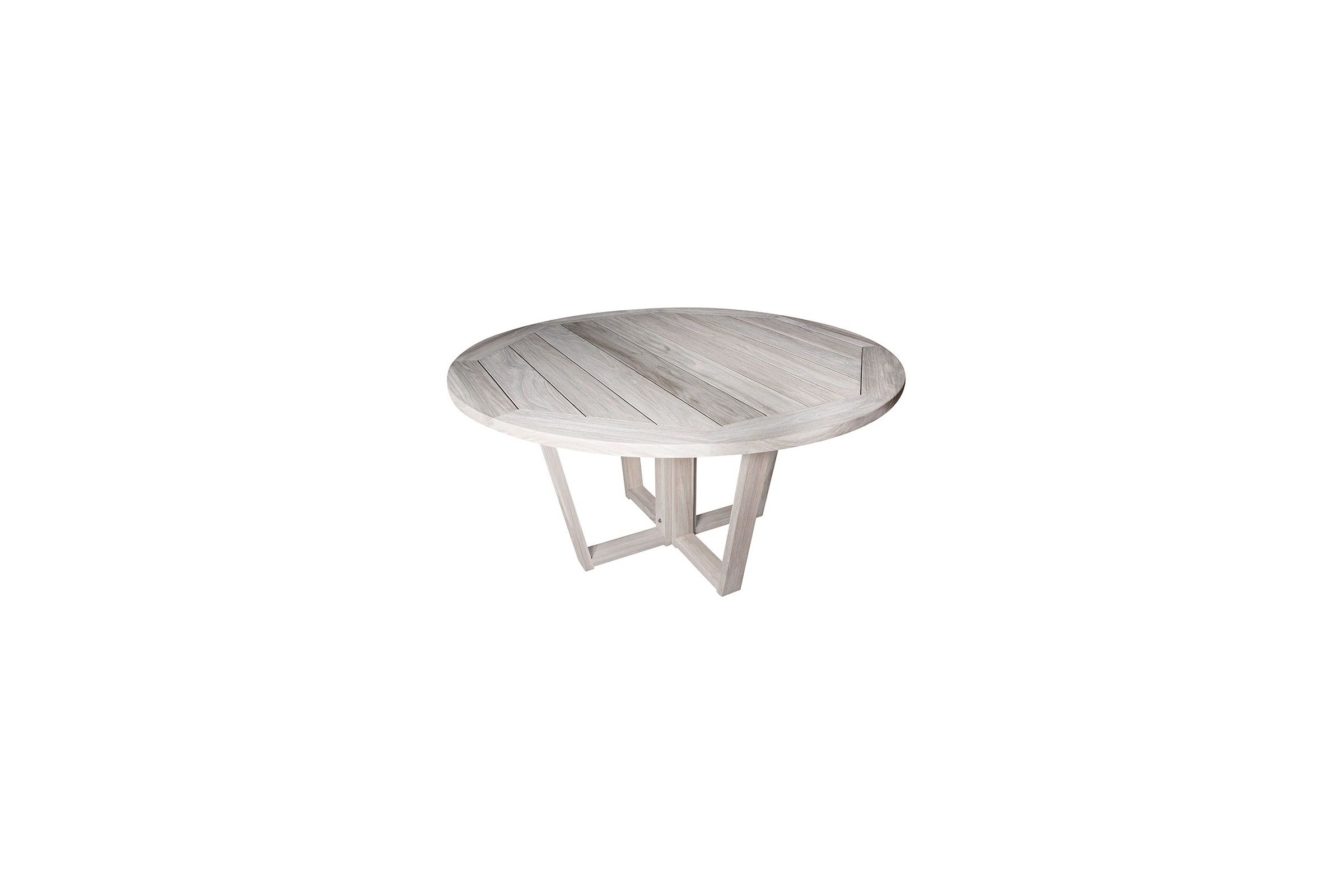 Table ronde en vieux teck massif finition d lav e d 150 cm 8 10 couverts - Diametre table ronde ...