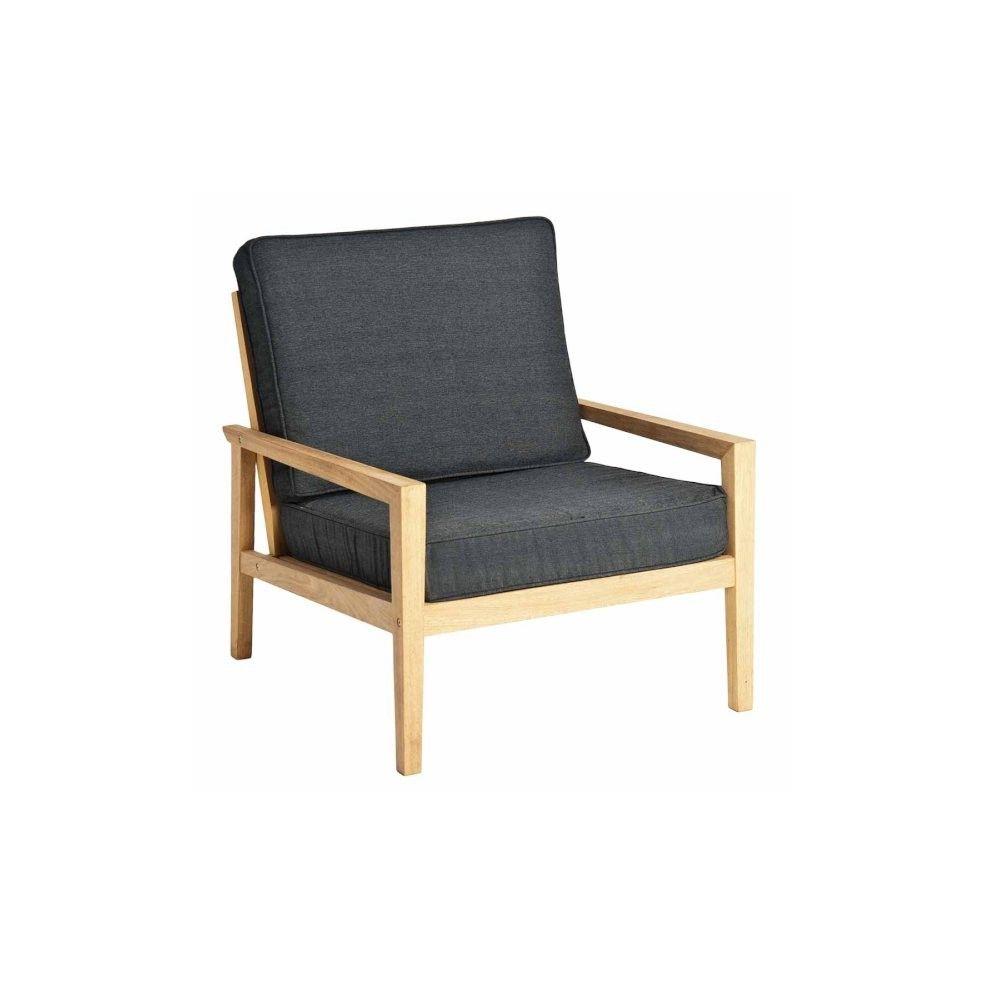 Fauteuil de salon de jardin en bois avec coussin gris for Chaise salon bois