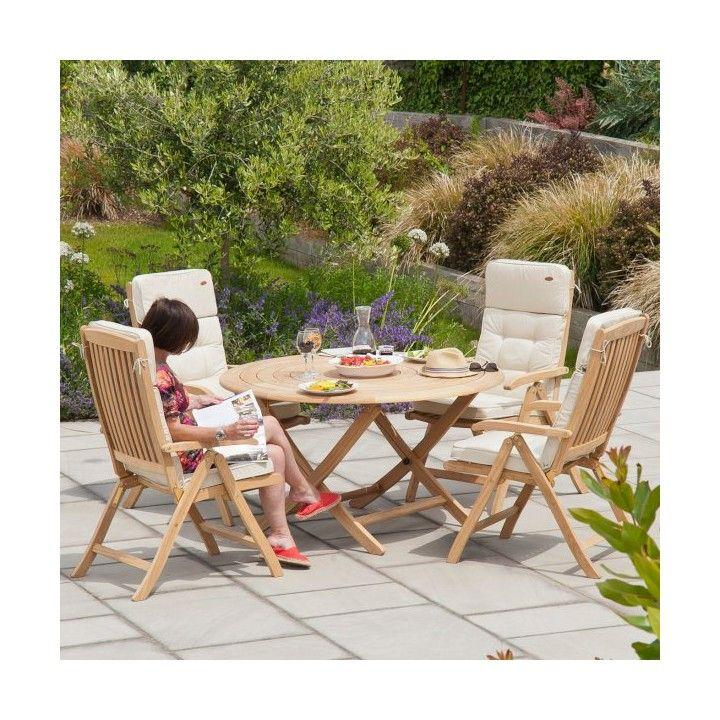 Table de jardin ronde 130 cm en bois massif, pliante, haut de gamme