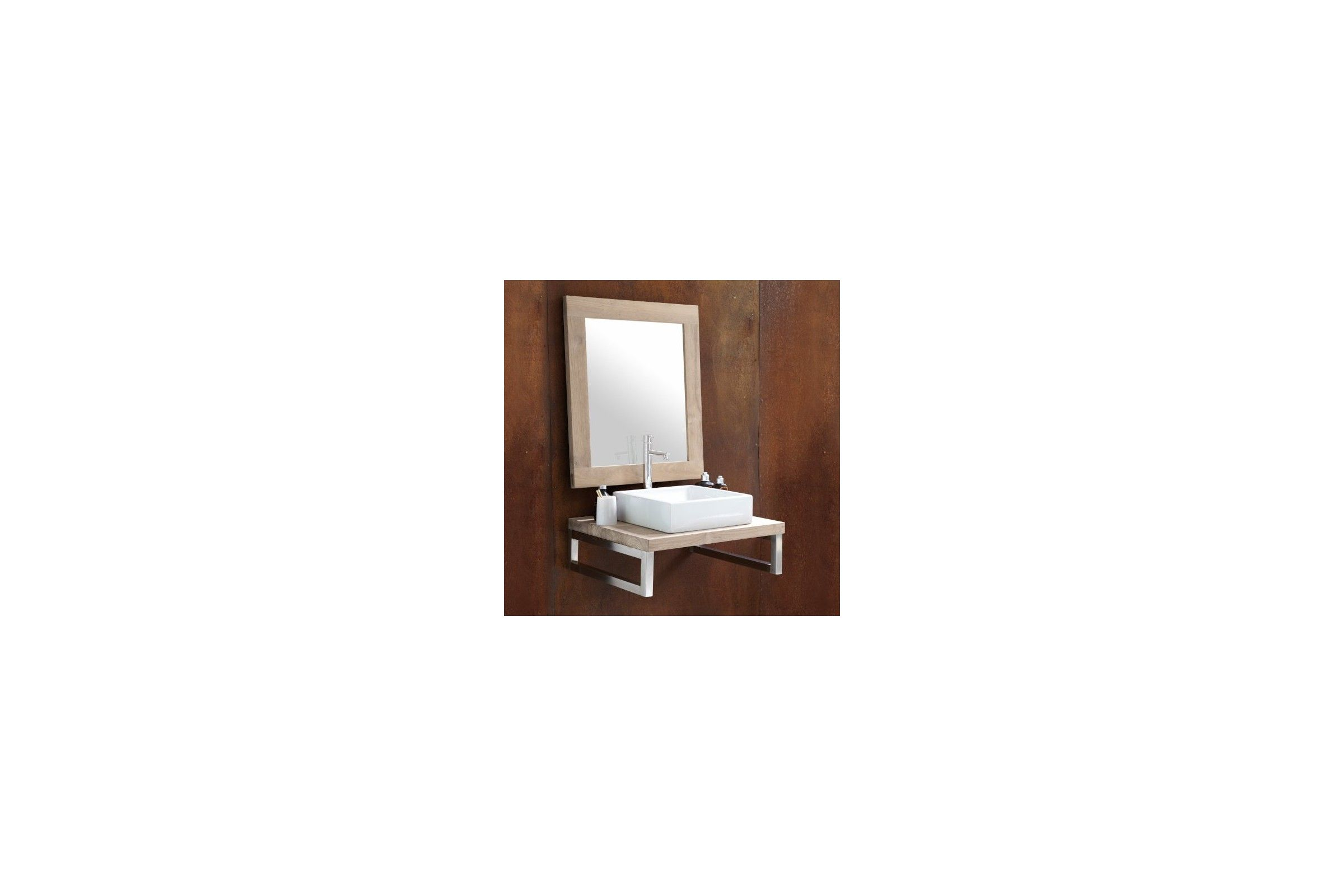 plan de toilette en ch ne massif sur mesure line art la galerie du teck. Black Bedroom Furniture Sets. Home Design Ideas