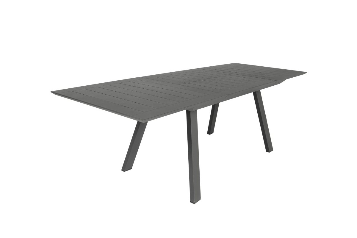 table en aluminium mat avec rallonge 200 300 cm parm la galerie du teck. Black Bedroom Furniture Sets. Home Design Ideas