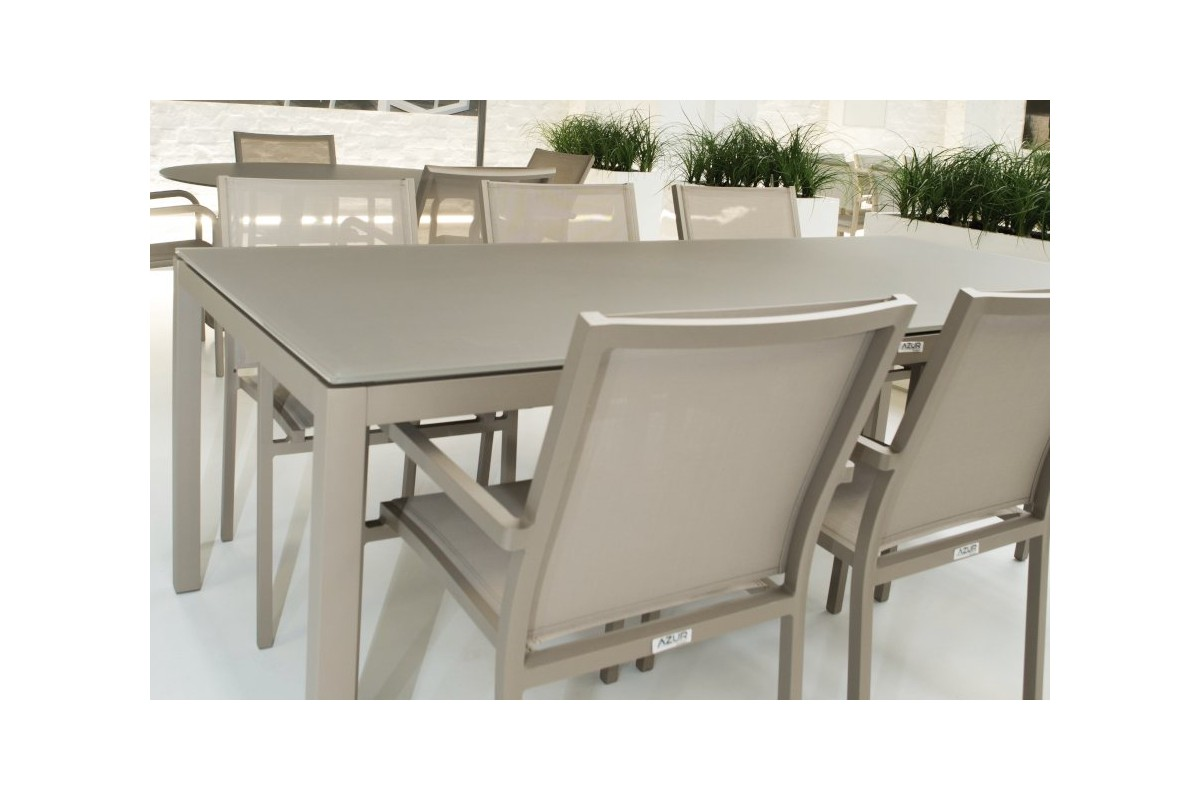 Table de jardin design en aluminium et verre grana la for Table exterieur en aluminium