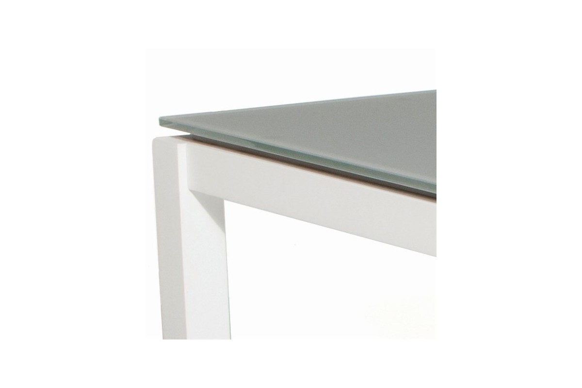 Table de jardin carr e 100 cm en alu et verre blanc ou for Table de jardin carree
