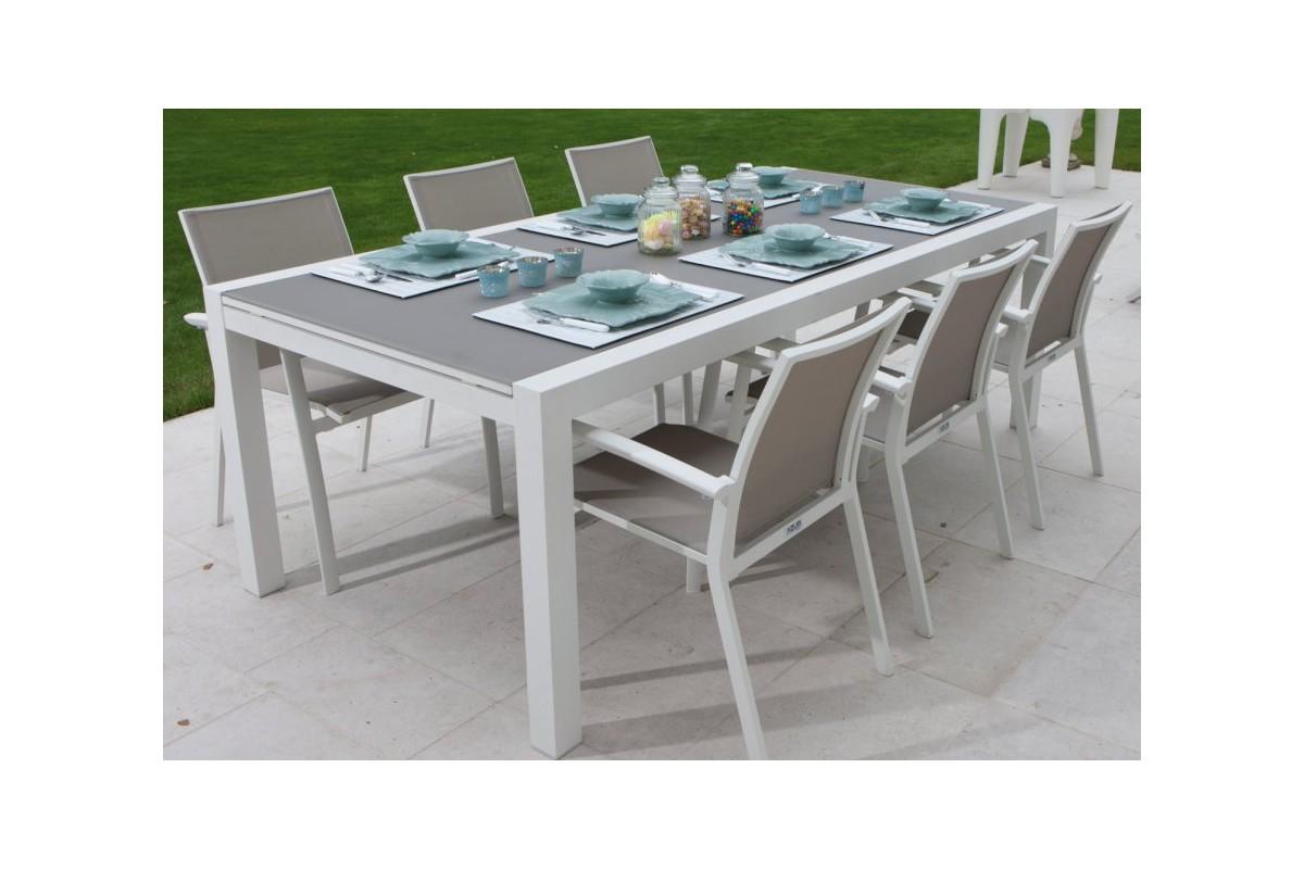 Table de jardin avec rallonge plateau en verre des id es int - Table verre rallonge ...