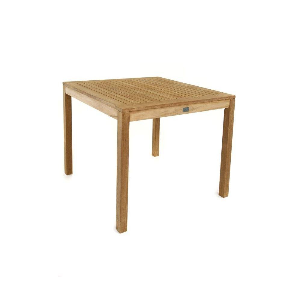 Table carrée en teck massif pour le repas au jardin, modèle Calida