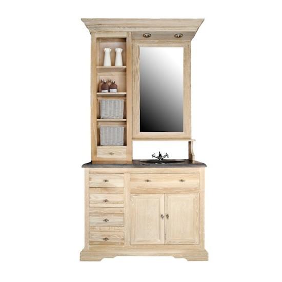 Meuble de toilette 111 cm avec plan pierre, vasque, miroir et éclairage intégrés