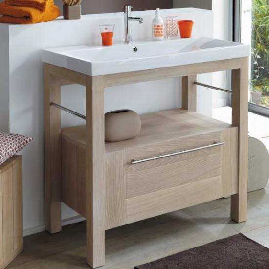 Meuble en chêne avec vasque intégrée et tiroir