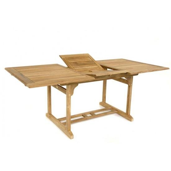 Table rectangulaire à rallonge teck massif, modèle Toulouse