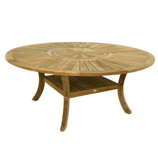 Table ronde teck massif avec plateau tournant, modèle haut de gamme
